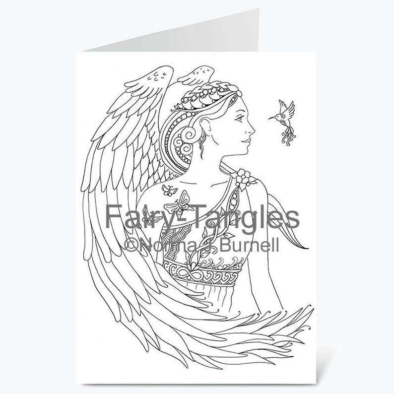 Printable Fairy Tangles Angel Greeting Cards to Color by Norma image 0