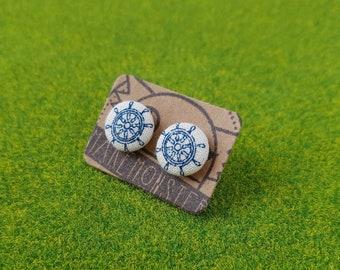 Steering Issues // Nautical ship steering wheel pattern mini cotton linen fabric button stud earrings, minimalist jewelry, small earrings