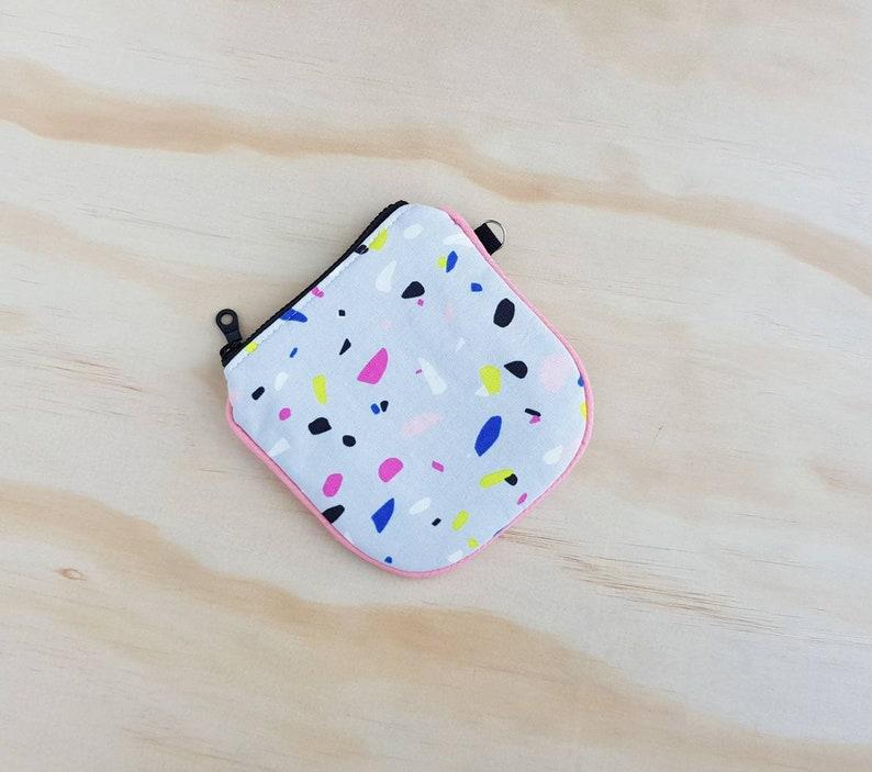 Terrazzo Mini Zip Wristlet  half moon rounded zipper card pouch wallet  simple minimalist zipper coin purse  small wristlet purse
