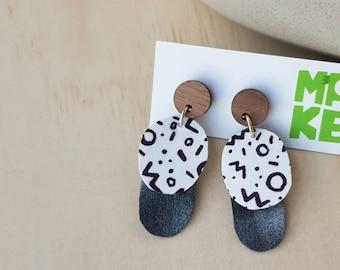 Retro dangle stud earrings / sketched pattern on paper leather with glitter backdrop, sustainable jewellery earrings, walnut wood