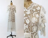 antique edwardian dress 1900s lace gown small