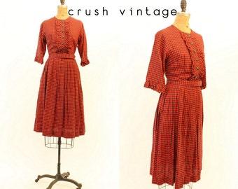 b788532f31f6 1950s plaid cotton dress