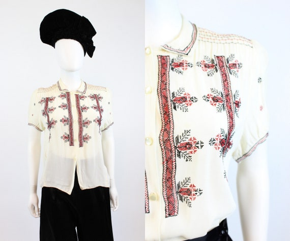 1930s embroidered peasant blouse small | vintage s