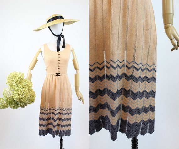 1970s knit chevron dress xs | vintage 70s does 30s