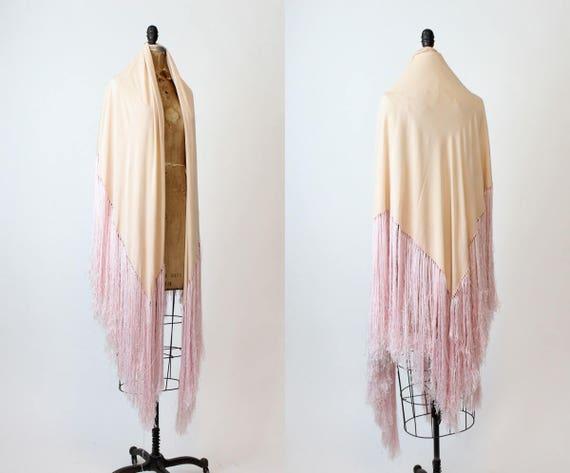 1940s silk fringed piano scarf | vintage wrap shaw