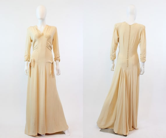 1930s nude rayon dress gown xs small | vintage 30s