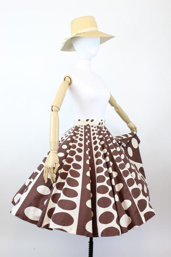 1950s op art circle print skirt    novelty print … - image 5