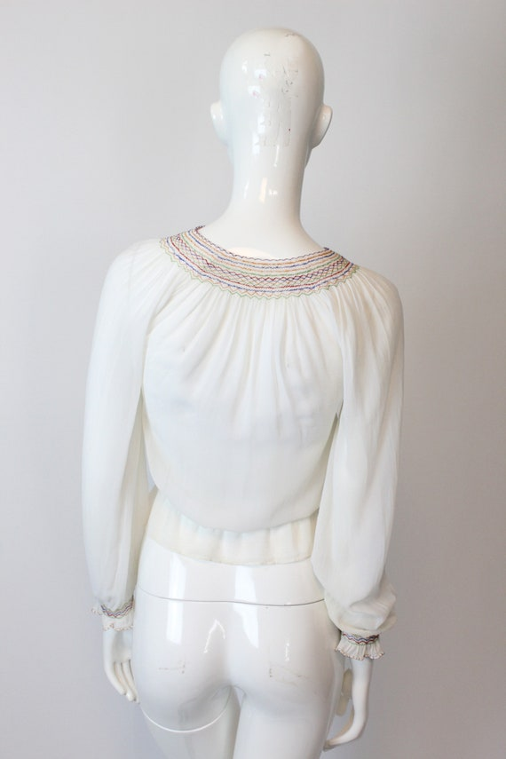 1930s Hungarian embroidered blouse xs   vintage p… - image 8