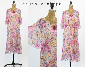 20s Dress Flutter Sleeves Medium / 1920s Dress Floral Tissue Silk  / Sweet Midsummer Dress