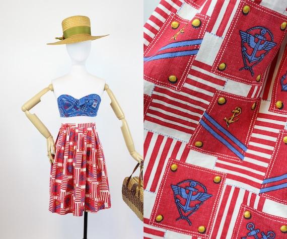 1960s nautical anchor print skirt xs | novelty pri