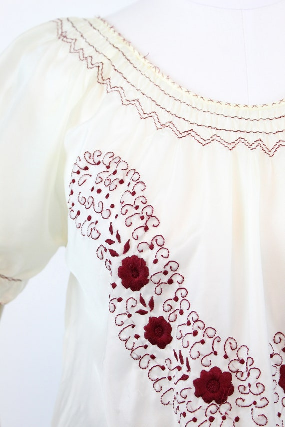 1940s rayon embroidered hungarian blouse small me… - image 4