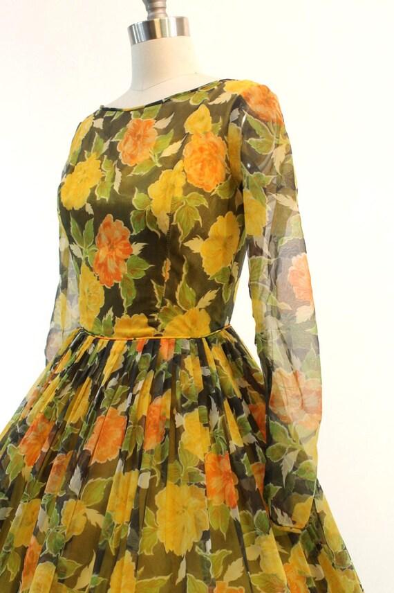 1950s organza dress | floral rose print | xs - image 5