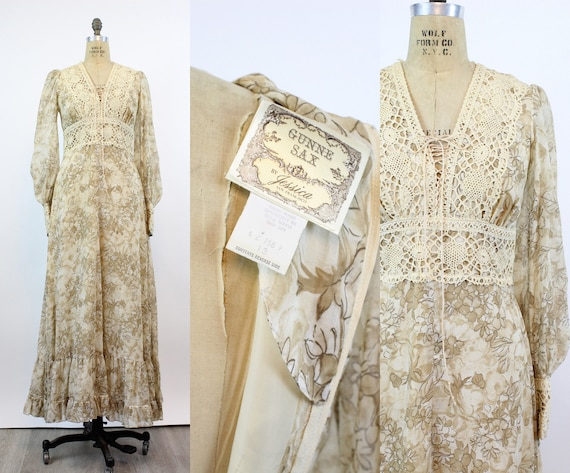 1970s Gunne Sax corset ROSE PRINT maxi dress small