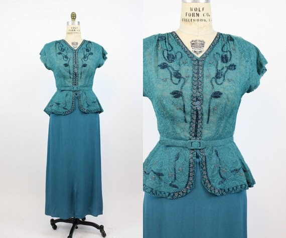 1940s turquoise beaded lace gown medium large | vi