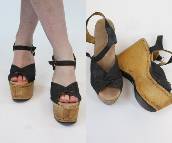 1970s Carber cork platforms size 6.5 us | vintage
