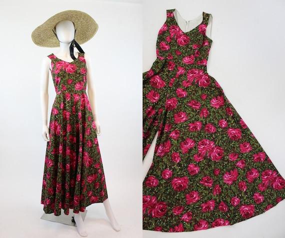 1950s rose print jumpsuit xs | vintage palazzo pan