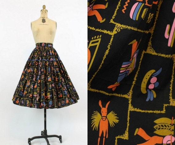 1950s novelty print skirt | vintage fiesta burro c