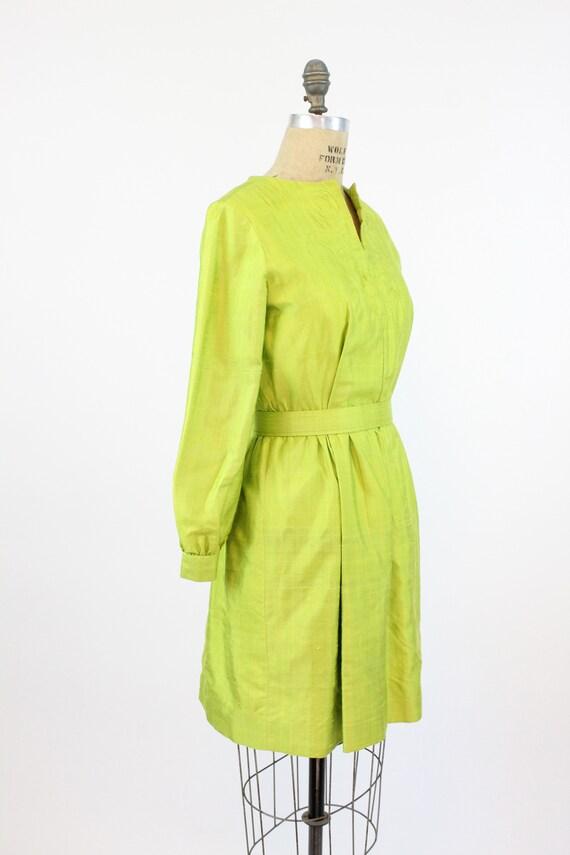 1960s chartreuse dress | mod mini | small - image 5