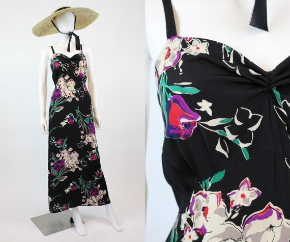 1930s rayon floral dress gown xs small  | new in