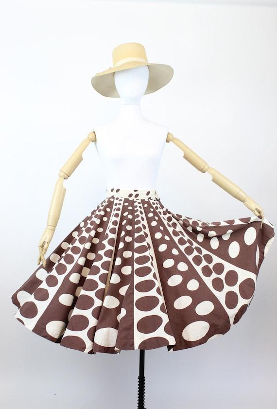 1950s op art circle print skirt    novelty print … - image 2