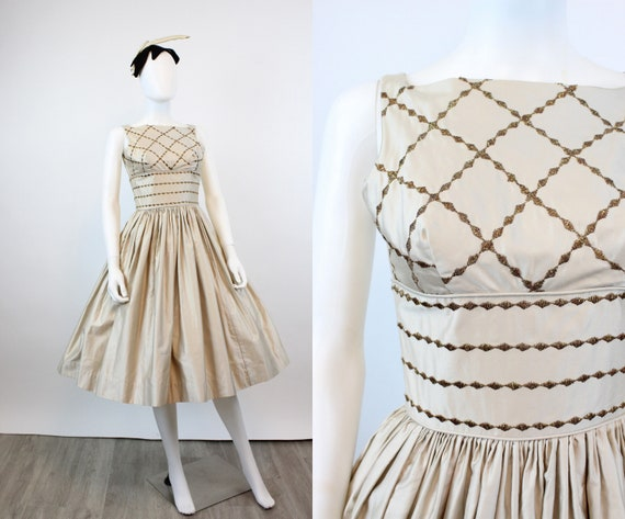 1950s CANDI JONES polished cotton GOLD dress xxs |
