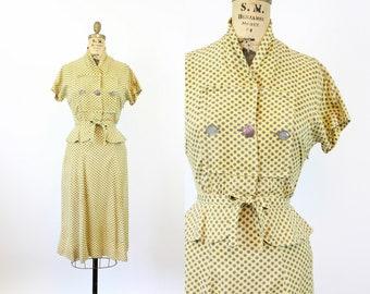 1940s MARY MUFFET star print peplum dress xxs   new spring