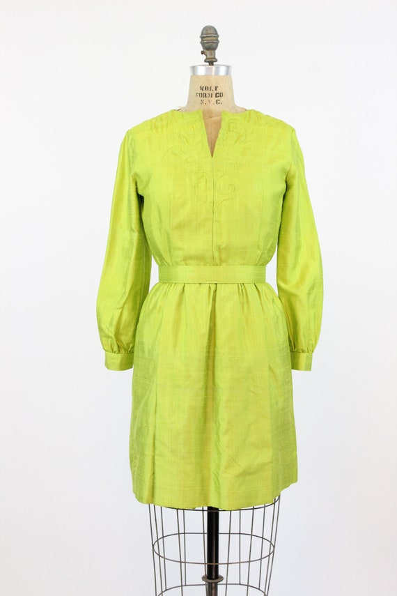 1960s chartreuse dress | mod mini | small - image 2