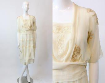 1910 20s Tissue Silk Dress Embroidered  XS  / 1920s Edwardian Vintage Silk Dress  /  Vanilla Bean Wedding Dress