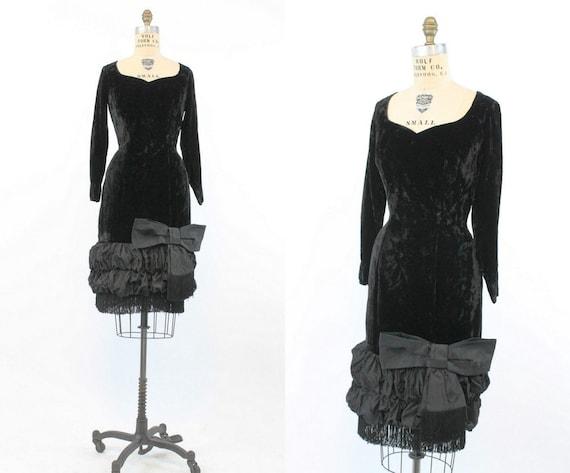 1950s  Lilli Diamond velvet dress small   vintage