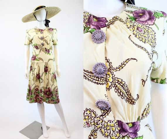 1930s rayon jersey floral dress xs | vintage side