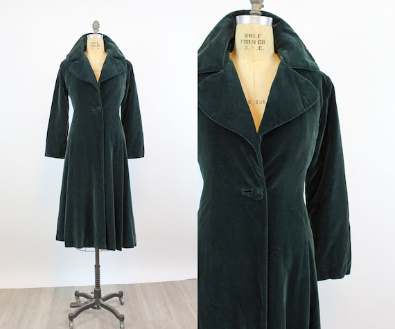 1950s EMERALD velvet princess coat small | new fal