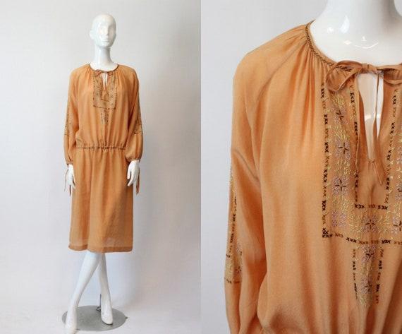 1920s peasant dress silk small medium | vintage em