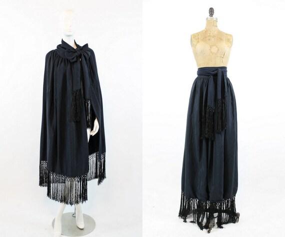 1920s fringe cape silk   wrap skirt   all sizes