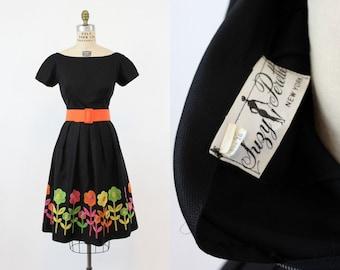 1950's Suzy Perette Embroidered Floral Dress Medium / 50's Vintage Dress/ The Eloise Dress
