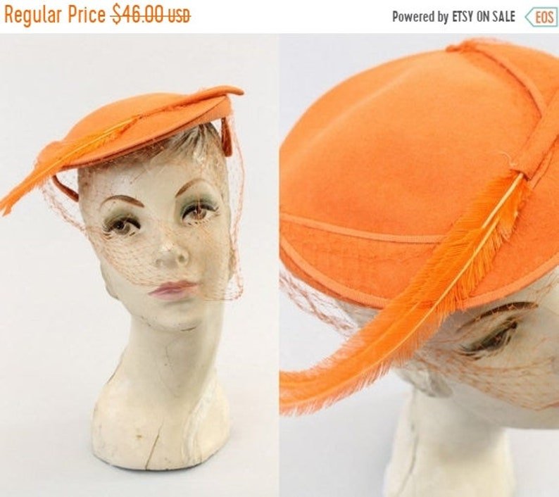 d9f3683e9 30% SALE 1940s tilt hat orange feather | vintage fascinator