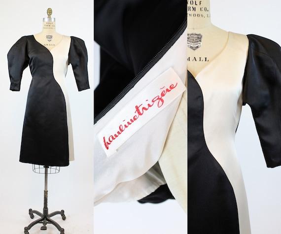 1980s Pauline Trigere colorblock silk dress medium