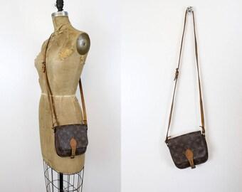 Vintage Louis Vuitton Purse/ 1980s Monogram LV Crossbody / Cartouchiere Bag
