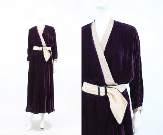 1940s wrap robe | vintage silk velvet dress | medi