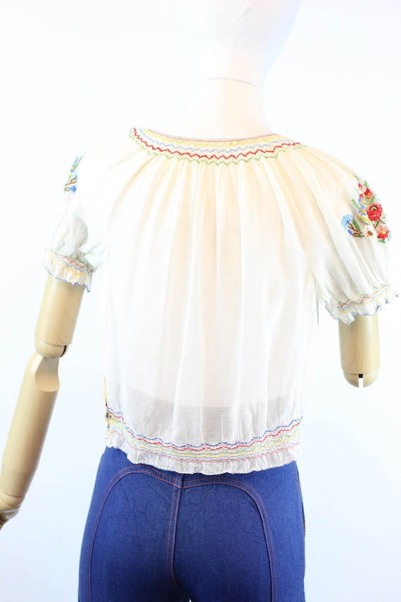 1930s HUNGARIAN embroidered peasant blouse small … - image 8