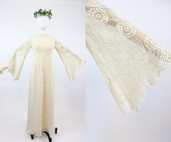 1970s ANGEL SLEEVES lace wedding dress xs small |