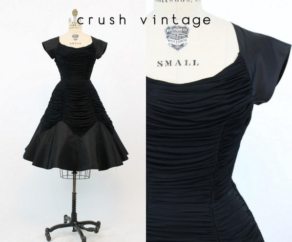 50s Dress Draped Small / 1950s Vintage Dress Full