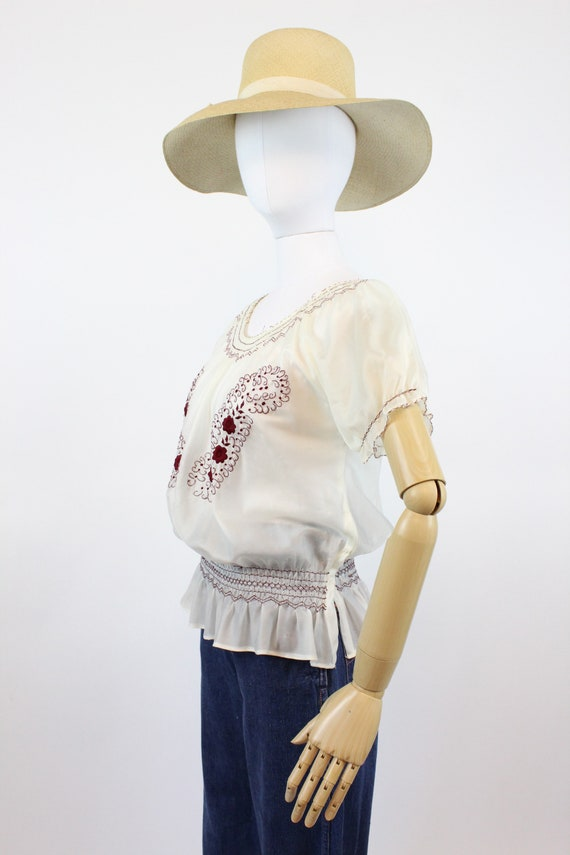 1940s rayon embroidered hungarian blouse small me… - image 6