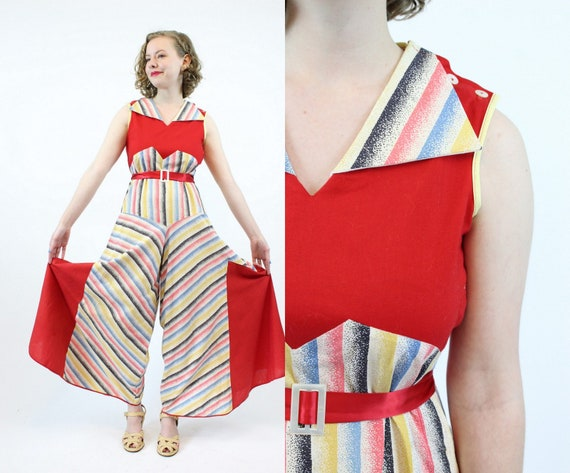 1930s beach pajamas jumpsuit xs small  | vintage b