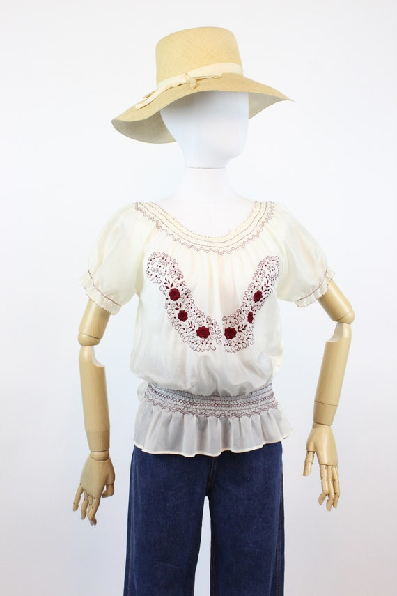 1940s rayon embroidered hungarian blouse small me… - image 2