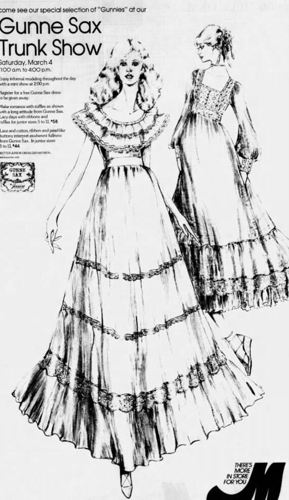 1970s GUNNE SAX cotton FLORAL maxi dress xs    ne… - image 2