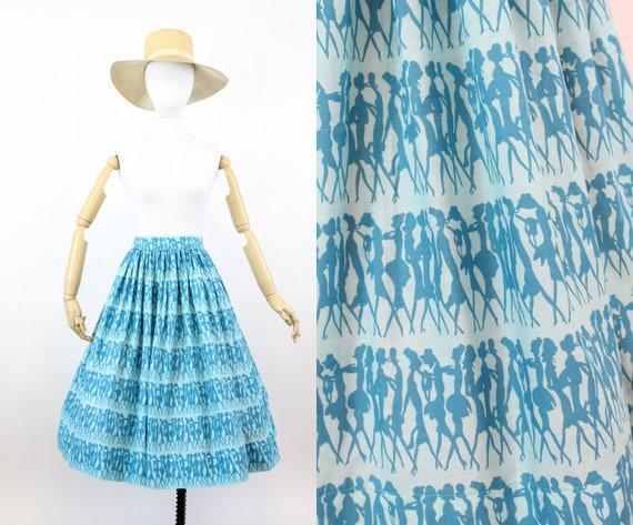 1950s fashion model print skirt | novelty print co