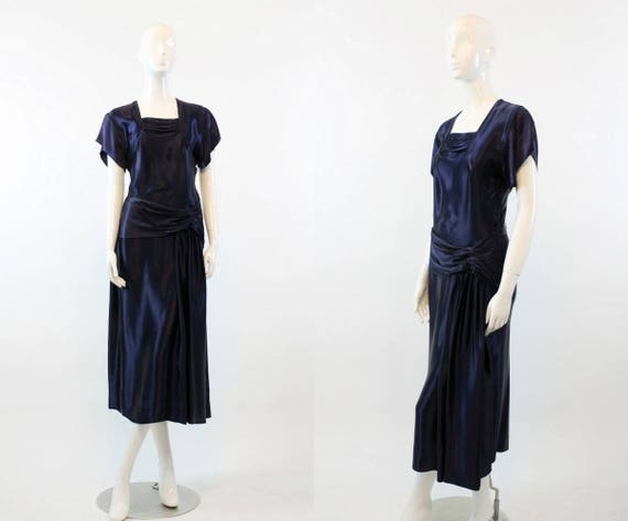 1940s liquid satin draped dress | navy small gown