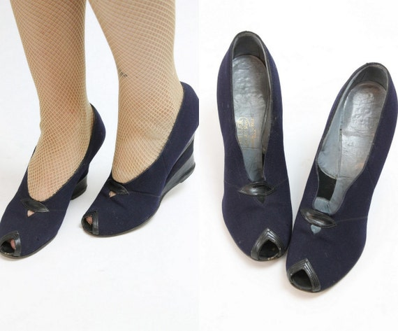 1940s navy fabric wedges size 5.5-6 us | vintage p