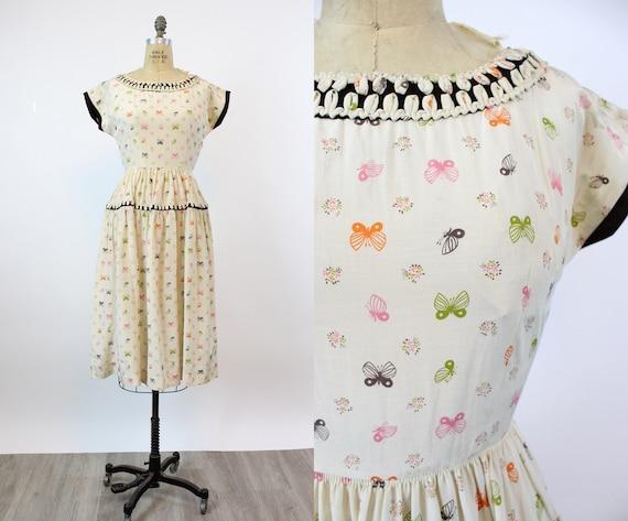1950s MOTH butterfly print Vicky Vaughn dress xs |