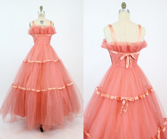 1950s Emma Domb coral tulle dress xs | vintage cup